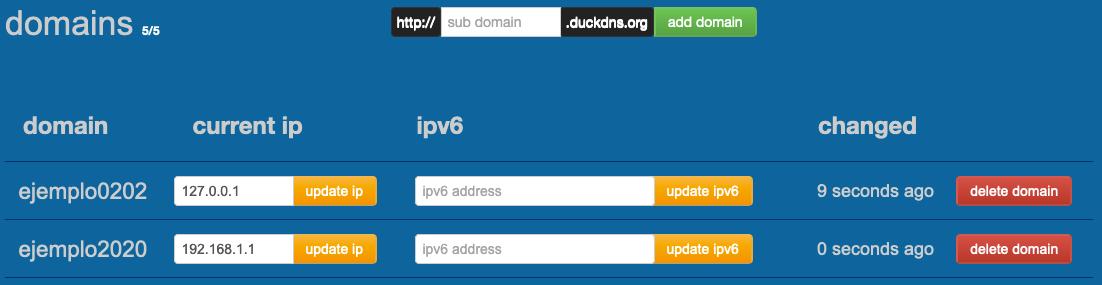 Subdominios creados para nuestro usuario