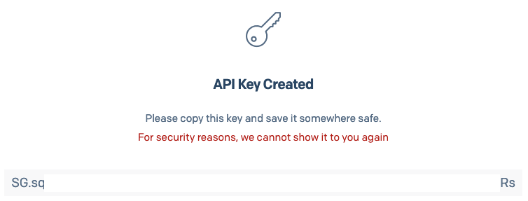 API Key creada por el servicio de SendGrid
