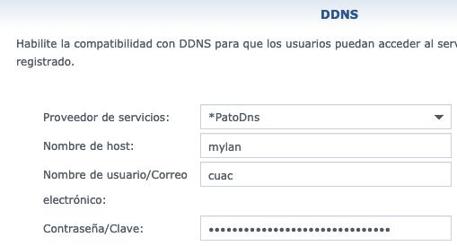 Datos para dar de alta el DDNS de DuckDNS