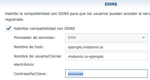 Datos para dar de alta el DDNS de OVH
