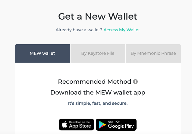 Opciones para crear una cartera nueva