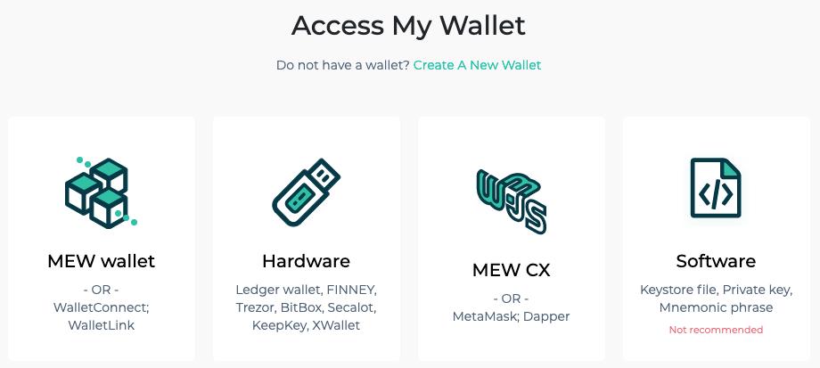 Opciones que ofrece MEW para acceder a nuestra cartera de ETH