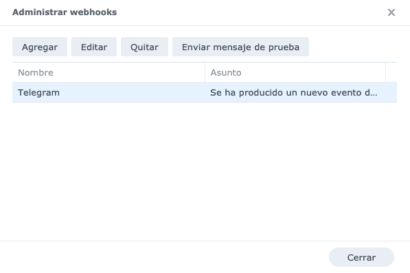 Pantalla de administrar webhooks